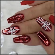 Classic And Traditional Easy Red Coffin Christmas Nails Designs , Christmas Coffin Nails;Coffin Nails;Christmas Nails;Long Nails;Red Nails;Nails Art;Holiday Nails;Nails Design;Coffin Nails Trend;Snowflake Nails; Snow. Xmas Nails, Holiday Nails, Red Christmas Nails, Valentine Nails, Holiday Mood, Halloween Nails, Purple Nails, Red Nails, Glittery Nails