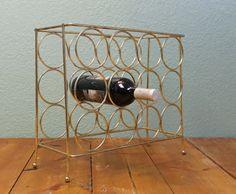 Brass Wine Rack, Vintage Wine Rack, 12 Bottle Wine Rack