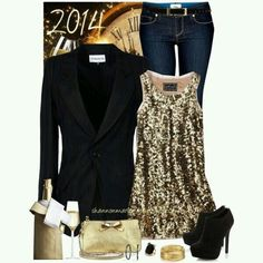 Gold sequin top outfit