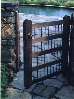 handsome gate, wood with metal bars