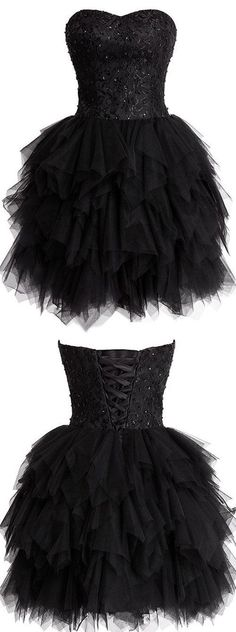 Black Homecoming Dresses,Short Cocktail Dresses,Tulle Sweetheart Party Gowns,Lace and Tiered Prom Dresses,Fashionable Girls Club Dress,YY305