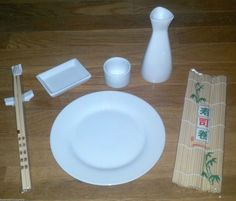 22 Piece Sushi Set Service for 4 Complete with EXTRAS New Sake Pitcher Roll Mat | eBay