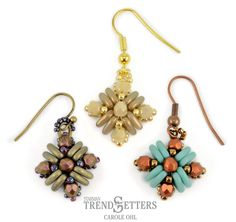 Teresa Earrings By Trendsetter Carole Ohl Free Beaded Earring Pattern With Czechmates Triangle Jewelry