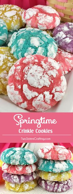 Springtime Crinkle Cookies - light and fluffy on the inside - sweet and crunchy on the outside with a hint of lemon flavor. A yummy homemade Crinkle cookie recipe that is not made from a cake mix. This fun and easy Easter Treat would be a great Easter des Easter Cookies, Easter Treats, Easter Food, Easter Decor, Easter Centerpiece, Easter Eggs, Mini Desserts, Easy Easter Desserts, Easter Cake Flavors