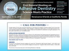 Want to share your innovative research or clinical techniques at the IAAD First Biennial Meeting on Adhesive Dentistry Poster Session? Submit your abstract today. The prize is $1,000 and the deadline to submit your abstract is April 15th.
