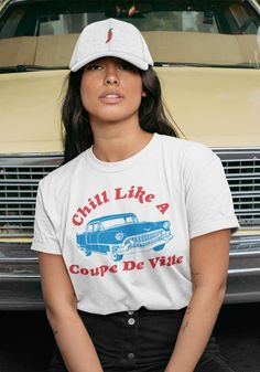You're as chill as a Coupe De Ville. Boyfriend fit tee in White. combed and ring-spun cotton. Coupe De Ville Tee / womens graphic tees / vintage style t shirt / retro muscle car cadillac shirts / chevy cars chill t-shirt 70s T Shirts, Cute Shirts, Vintage Style Outfits, Vintage Fashion, Chill, Vintage Tees, Shirt Style, Graphic Tees, Graphic Design