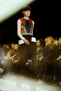 Stella Tennant in beaded embellishment at Givenchy AW14 PFW. More images here: http://www.dazeddigital.com/fashion/article/19086/1/givenchy-aw14
