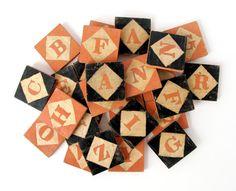 Harlequin Alphabet Tile Blocks  Primitive by sushipotparts on Etsy, $115.00