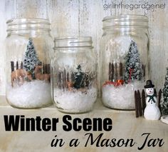 Easy holiday craft: How to create a winter wonderland scene inside a mason jar.  Michaels Pinterest Party girlinthegarage.net