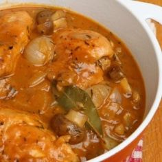 This chicken dish embodies traditional French fare prepared by common families in their households.