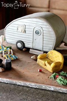 I'm Topsy Turvy: White Trash Trailer cake - super cute! Camper Cakes, Caravan Cake, Redneck Party, Redneck Cakes, White Trash Party, City Cake, 3d Cakes, Cake Cover, Novelty Cakes