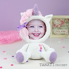 This is a crochet pattern (PDF file) NOT a finished Photo Frame you see on the photos! Crochet Unicorn, Crochet Fox, Easy Crochet, Free Crochet, Crochet Amigurumi, Crochet Dolls, Entre Crochet, Crochet Stars, Sport Weight Yarn