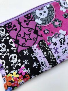 Skulls Patchwork Zipper Pouch: Dancing Skeletons, Flowers.
