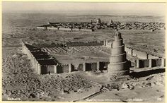 Excavation of Samarra (Iraq): Aerial View (Royal Air Force) of the Great Mosque of al-Mutawakkil and the Walled City of Samarra, 1918