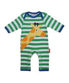 da70bc1683e Look at this Green Striped Giraffe Sleepsuit on  zulily today! Rayures  Vertes