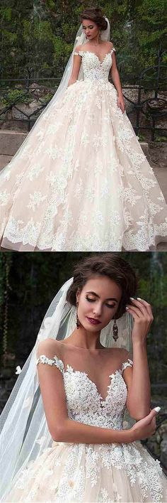 Wedding Dresses 2018 #WeddingDresses2018, Ball Gown Wedding Dresses #BallGownWeddingDresses, Lace Wedding Dresses #LaceWeddingDresses, Custom Made Wedding Dresses #CustomMadeWeddingDresses