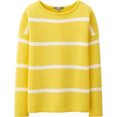 UNIQLO Women Middle Gauge Striped Sweater (680 RUB) ❤ liked on Polyvore featuring tops, sweaters, shirts, yellow, yellow stripe shirt, striped collared shirt, stripe shirt, loose shirts and cuff shirts