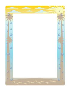 This summer border features a bright sun and tall palm trees as well as footprints in the sand. This would be perfect for beach party flyers. Free to download and print.