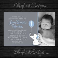 Baptism Invitation with photo, christening, first communion, elephant, baby elephant, boy, blue, gray, custom invite, digital, DIY printable