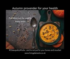 Eating food that is ripe at that time of the year keeps your body in line with the environment and seasons. Its helps you stay healthy! Autumn is bountiful and especially with health-boosting pumpkins! Gayle Palmer, Osteopath at the Living Elements Clinic, Chichester, Uk, discusses why we should enjoy these more and some recipe ideas too.