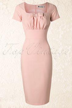 Daisy Dapper - 50s Debbie Pencil Dress in Light Pink