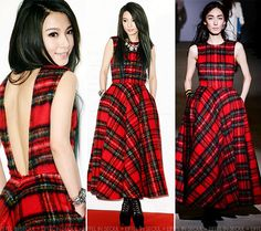 Taiwanese singer, Hebe Tien (田馥甄) attended the press conference of her third album, 'Insignificance (渺小)' in Taipei, Taiwan on November 14, 2013. The songbird opted for a tartan back-less dress from Korean label, pushBUTTON Fall/Winter 2013 collection. Same dress worn in korean drama Master's Sun by Gong Hyo Jin