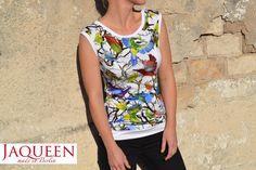 Sweatshirts - Shirt Vogel Muster weiß - ein Designerstück von JAQUEEN-handmade-streetwear-berlin bei DaWanda