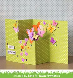 Kate's Beautiful Butterfly Card! Z Cards, Step Cards, Fun Fold Cards, Folded Cards, Baby Cards, Pop Up Greeting Cards, Pop Up Cards, Rena, Make Your Own Card