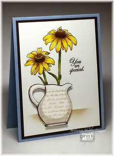 Stately Flowers 9 stamp set and card by Melanie Muenchinger for Gina K. Designs. Hands, Head and Heart