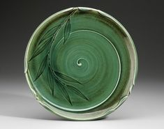Willow leaves platter grenadier pottery impressed leaves stamped curl background pottery ceramics clay