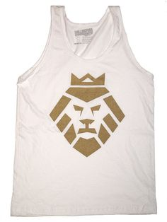 Gold Lion Face Logo on White Tank by ShillingfordCompany on Etsy