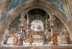 "Renaissance banquet, men and woman apart, servants and a little person.  Herod's Banquet - Ghirlandaio, Domenico - Renaissance (Early Italian, ""Quattrocento"") - Fresco - Old Testament - TerminArtors"