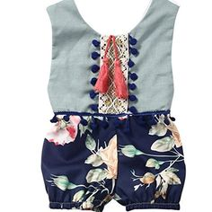 Infant Baby Girl Boy Summer Sleeveless Romper Jumpsuit Floral Clothes Outfits 03 Months Blue -- To view further for this item, visit the image link.Note:It is affiliate link to Amazon.