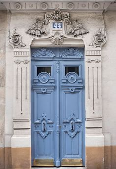 Paris Photography - Ornate Blue Door, Architecture Photography, France Travel Fine Art Photograph, French Home Decor, Large Wall Art