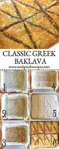 This recipe tells you everything you need to know in order to make the best Classic Greek Baklava. It's a true Greek recipe with tips and tricks so there isn't any chance of failure. Food Recipes For Dinner, Food Recipes Deserts Greek Desserts, Köstliche Desserts, Delicious Desserts, Yummy Food, Greek Food Recipes, Authentic Greek Recipes, Greek Cooking, Greek Dishes, Mediterranean Recipes