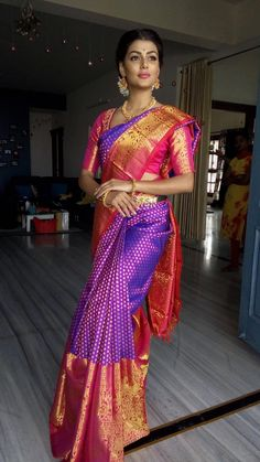 Red and purple silk kanchipuram - South Indian Wedding Saree, Indian Bridal Sarees, Indian Bridal Fashion, Indian Gowns, South Indian Bride, Indian Beauty Saree, Kerala Bride, Indian Weddings, Wedding Saree Blouse Designs