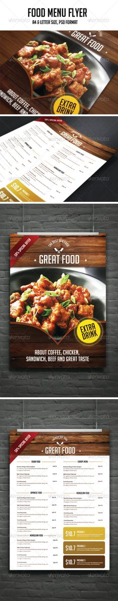 Food Menu Flyer Template #design Download: http://graphicriver.net/item/food-menu-flyer/8116952?ref=ksioks