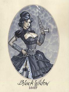 La viuda negra steampunkizada a la victoriana :P
