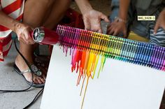 Diy crayon art but use neutral colors! Cute Crafts, Crafts To Do, Crafts For Kids, Arts And Crafts, Diy Crafts, Crayon Crafts, Crayon Art, Crayon Canvas, Diy Canvas