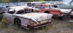 Old race cars ...1958 Chevy Impala and a 1957 Ford