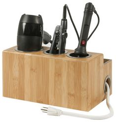 Bamboo Hair Styling Station - contemporary - Bathroom Accessories - Great Useful Stuff