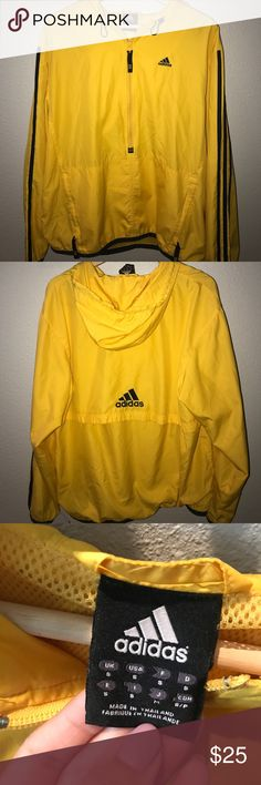 Adidas vintage windbreaker Yellow vintage adidas windbreaker. There are very little stains on the right sleeve as seen in the picture above. Size small in men's, would fit as a women's Medium. adidas Jackets & Coats