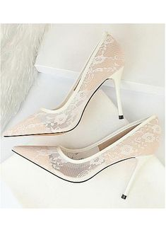 In Stock Fashionable Lace Upper Pointed Toe Stiletto Heel Wedding Shoes Pointed Toe Heels, Stiletto Heels, Wedding Shoes Heels, Wedding Store, Custom Shoes, Fashion Shoes, Lace, Stuff To Buy, Bhs Wedding Shoes