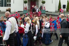 Princess Mette Marit of Norway, Princess Mette Marit of Norway, Prince Sverre Magnus of Norway, Princess Ingrid Alexandra of Norway greet the children in the parade at their home, Skaugum on Norway's National Day on May 17 2017 in Asker, Norway.