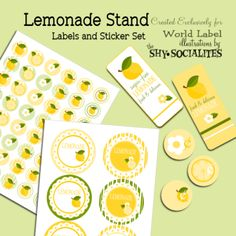 Lemonade stand free printables.  price stickers, labels, and cute straw flags!