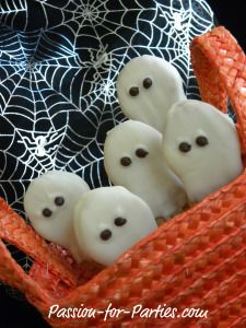 Easy Nutter Butter cookie ghosts:  dip in melted white chocolate, then use two mini chocolate chips for eyes
