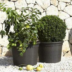 jardineras, decoración de jardín mediterránea, macetas de rattan con árboles decorativos, suelo con gravilla, muro de piedra