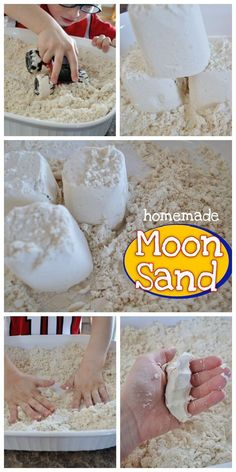 This DIY homemade moon sand recipe only takes 2 ingredients that you already have on hand. My toddler will be entertained with moonsand for hours! Craft Activities For Kids, Toddler Activities, Projects For Kids, Diy For Kids, Kids Fun, Summer Activities, Moon Projects, Sand Projects, Summer Games