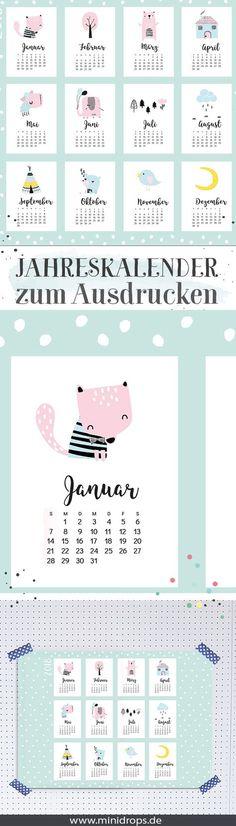 Jahreskalender 2018 zum Ausdrucken // Süßer Kalender für 2018 als Printable. Mit niedlichen Motiven für das Kinderzimmer oder Büro. Bei Minidrops >> #kalender #printable #minidrops