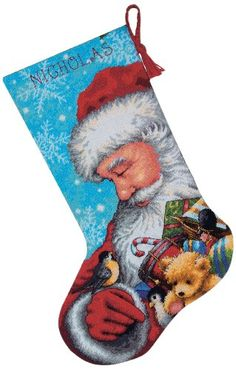 Shop for Dimensions Santa and Toys Stocking Needlepoint Kit. Get free delivery On EVERYTHING* Overstock - Your Online Sewing & Needlework Shop! Needlepoint Christmas Stocking Kits, Cross Stitch Christmas Stockings, Cross Stitch Stocking, Needlepoint Stockings, Needlepoint Kits, Xmas Stockings, Needlepoint Stitches, Applique Stitches, Felt Applique